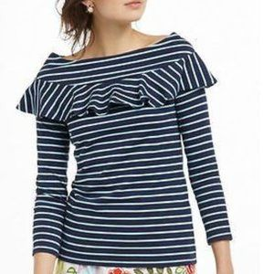 Anthro Leifnotes Blue Striped Off Shoulder Top, S
